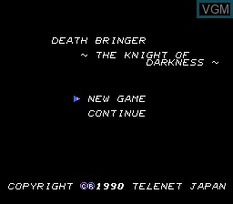 Title screen of the game Death Bringer - The Knight of Darkness on NEC PC Engine CD