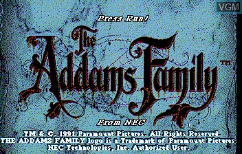 Title screen of the game Addams Familly, The on NEC PC Engine CD