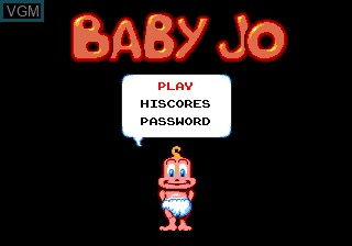 Menu screen of the game Baby Jo - The Super Hero on NEC PC Engine CD
