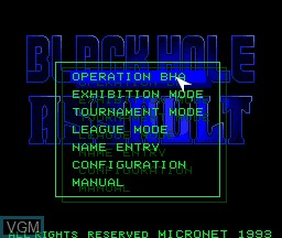 Menu screen of the game Black Hole Assault on NEC PC Engine CD