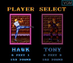 Menu screen of the game Riot Zone on NEC PC Engine CD