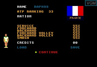 Menu screen of the game Davis Cup Tennis, The on NEC PC Engine CD