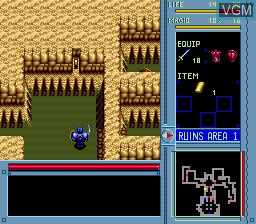 In-game screen of the game Brandish on NEC PC Engine CD