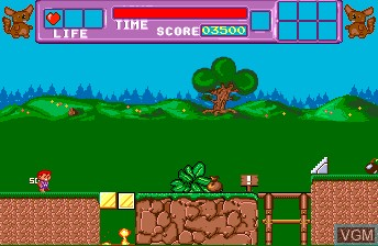 In-game screen of the game Builderland on NEC PC Engine CD