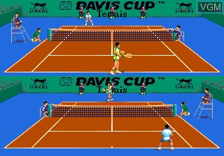 In-game screen of the game Davis Cup Tennis, The on NEC PC Engine CD