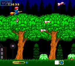 In-game screen of the game Cotton - Fantastic Night Dreams on NEC PC Engine CD