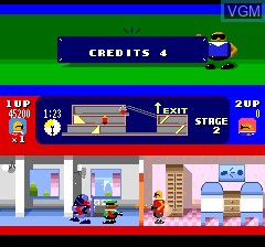 In-game screen of the game Bonanza Bros. on NEC PC Engine CD