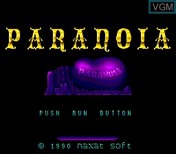 Title screen of the game Paranoia on NEC PC Engine