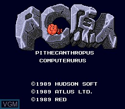 Title screen of the game PC Genjin - Pithecanthropus Computerurus on NEC PC Engine