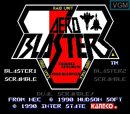 Title screen of the game Aero Blasters on NEC PC Engine