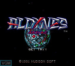 Title screen of the game Aldynes on NEC PC Engine