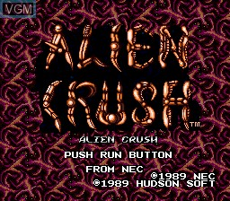 Title screen of the game Alien Crush on NEC PC Engine