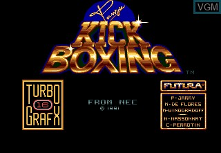 Title screen of the game Panza Kick Boxing on NEC PC Engine