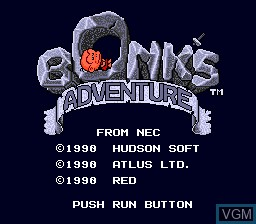 Title screen of the game Bonk's Adventure on NEC PC Engine