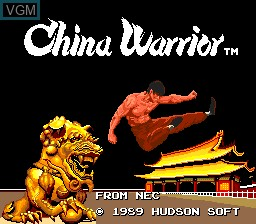 Title screen of the game China Warrior on NEC PC Engine