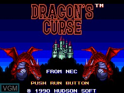 Title screen of the game Dragon's Curse on NEC PC Engine