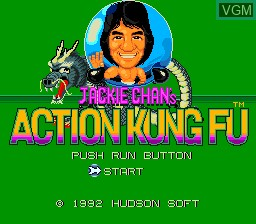 Title screen of the game Jackie Chan's Action Kung Fu on NEC PC Engine