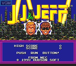 Title screen of the game J.J. & Jeff on NEC PC Engine
