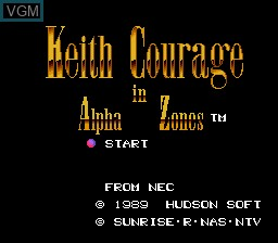 Title screen of the game Keith Courage in Alpha Zones on NEC PC Engine