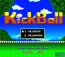 Title screen of the game Kick Ball on NEC PC Engine