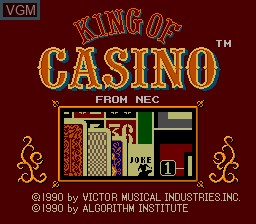 Title screen of the game King of Casino on NEC PC Engine