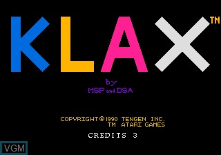 Title screen of the game Klax on NEC PC Engine