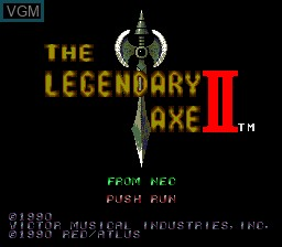 Title screen of the game Legendary Axe II, The on NEC PC Engine