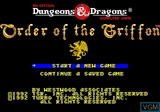 Title screen of the game Order of the Griffon on NEC PC Engine
