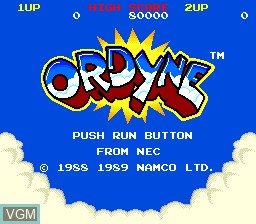 Title screen of the game Ordyne on NEC PC Engine