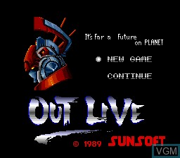Title screen of the game Out Live - It's Far a Future on Planet on NEC PC Engine