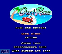 Title screen of the game OutRun on NEC PC Engine
