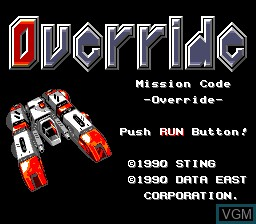 Title screen of the game Override - Mission Code -Override- on NEC PC Engine
