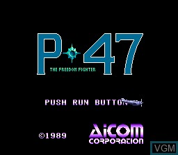 Title screen of the game P-47 - The Freedom Fighter on NEC PC Engine