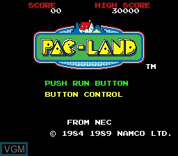 Title screen of the game Pac-Land on NEC PC Engine