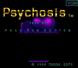 Title screen of the game Psychosis on NEC PC Engine