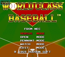 Title screen of the game World Class Baseball on NEC PC Engine