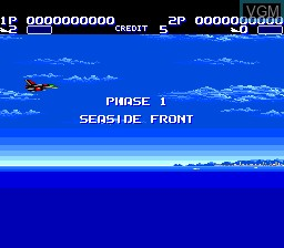 Menu screen of the game Aero Blasters on NEC PC Engine