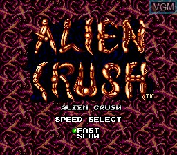 Menu screen of the game Alien Crush on NEC PC Engine