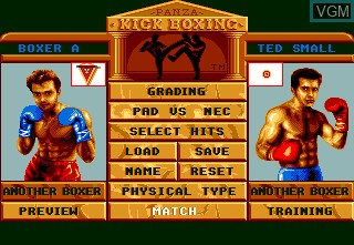 Menu screen of the game Panza Kick Boxing on NEC PC Engine