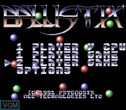Menu screen of the game Ballistix on NEC PC Engine