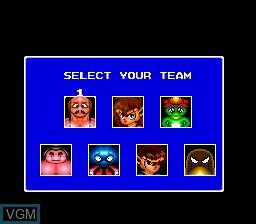 Menu screen of the game Kick Ball on NEC PC Engine