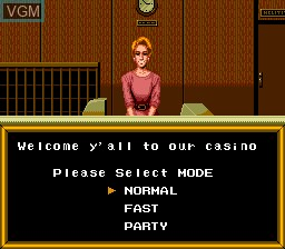 Menu screen of the game King of Casino on NEC PC Engine