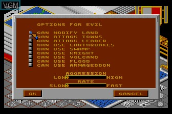 Menu screen of the game Populous on NEC PC Engine
