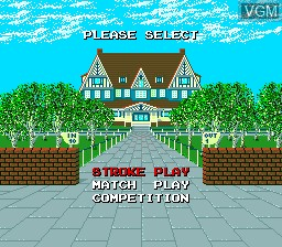 Menu screen of the game Power Golf on NEC PC Engine