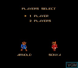 Menu screen of the game ShockMan on NEC PC Engine