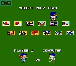 Menu screen of the game World Class Baseball on NEC PC Engine