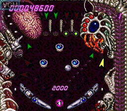In-game screen of the game Alien Crush on NEC PC Engine