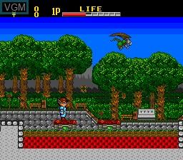 In-game screen of the game Kaizou Choujin Shubibinman on NEC PC Engine