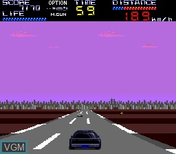 In-game screen of the game Knight Rider Special on NEC PC Engine