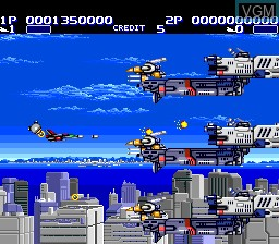 In-game screen of the game Aero Blasters on NEC PC Engine